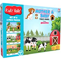 Kidz Valle Baby and Mother Their Homes - 6 x 3 pc (Jigsaw Puzzles, Puzzles for Kids, Floor Puzzles), Puzzles for Kids Age 3 Years and Above. Size: 18.4 cm x 13.3 cm Set of 3 Puzzles