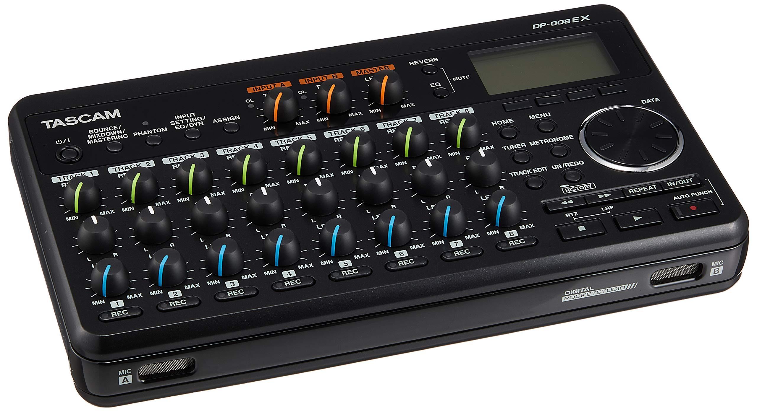 Tascam DP-008EX 8-Track Digital Multitrack Recorder - Bundle with 2X Tascam VL-S5 5'' 2-Way Professional Studio Monitor