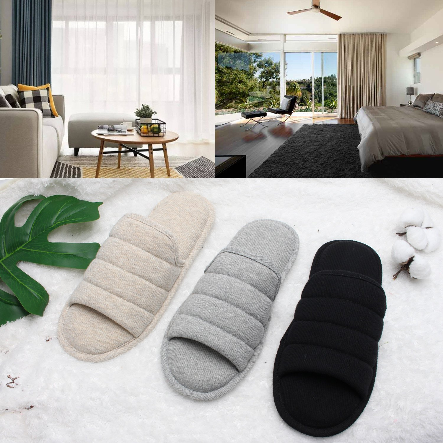 Ofoot Men's Cozy Thread Cloth Open Toe House Slippers, Indoor / Outdoor Slip on Shoes by Ofoot (Image #6)