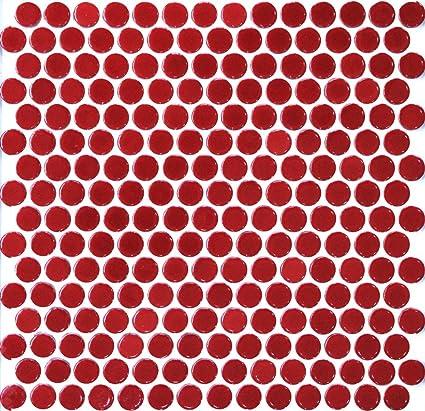 Vogue Tile Red Penny Round Porcelain Mosaic Box Of 10 Sqft Floor