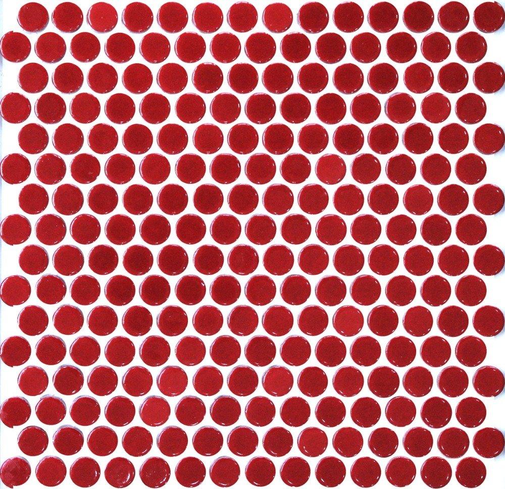 Vogue Tile Red Penny Round Porcelain Mosaic (Box of 10 Sqft), Floor and Wall Tile, Backsplash Tile, Bathroom Tile on 12x12 Mesh for Easy Installation