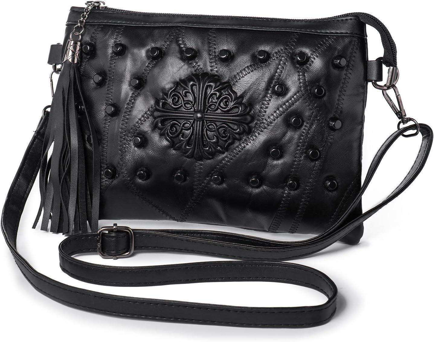 Large Black Clutch Bag Multi Compartment Cross Body Purse Bag Wallet Wrist Strap
