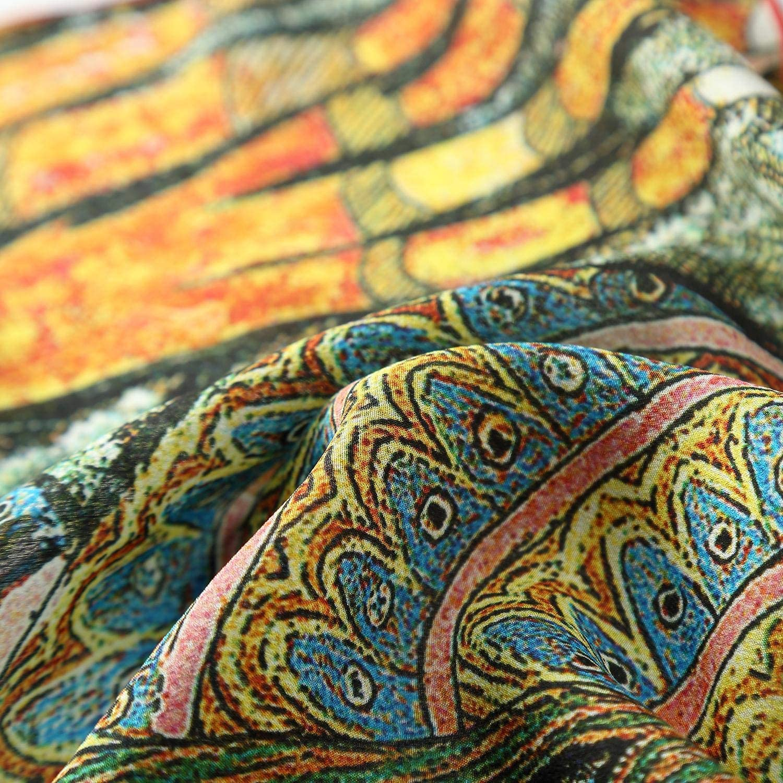 Orange and Turquoise JWSilk Long Crepe Silk Scarf Classic Art Print