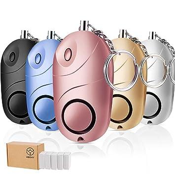 Aboat 5Pack 140 DB alarma personal de emergencia seguridad clave cadena sirena, autodefensa seguridad alarma de sonido con mini LED linterna mejor ...