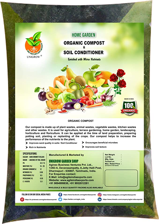 Unigrow Fertilizante de acondicionamiento de Suelos con Compost orgánico con un Agradable Olor a Suelo Fresco para una Mayor aireación, retención de Agua, fertilidad y Materia orgánica: Amazon.es: Jardín