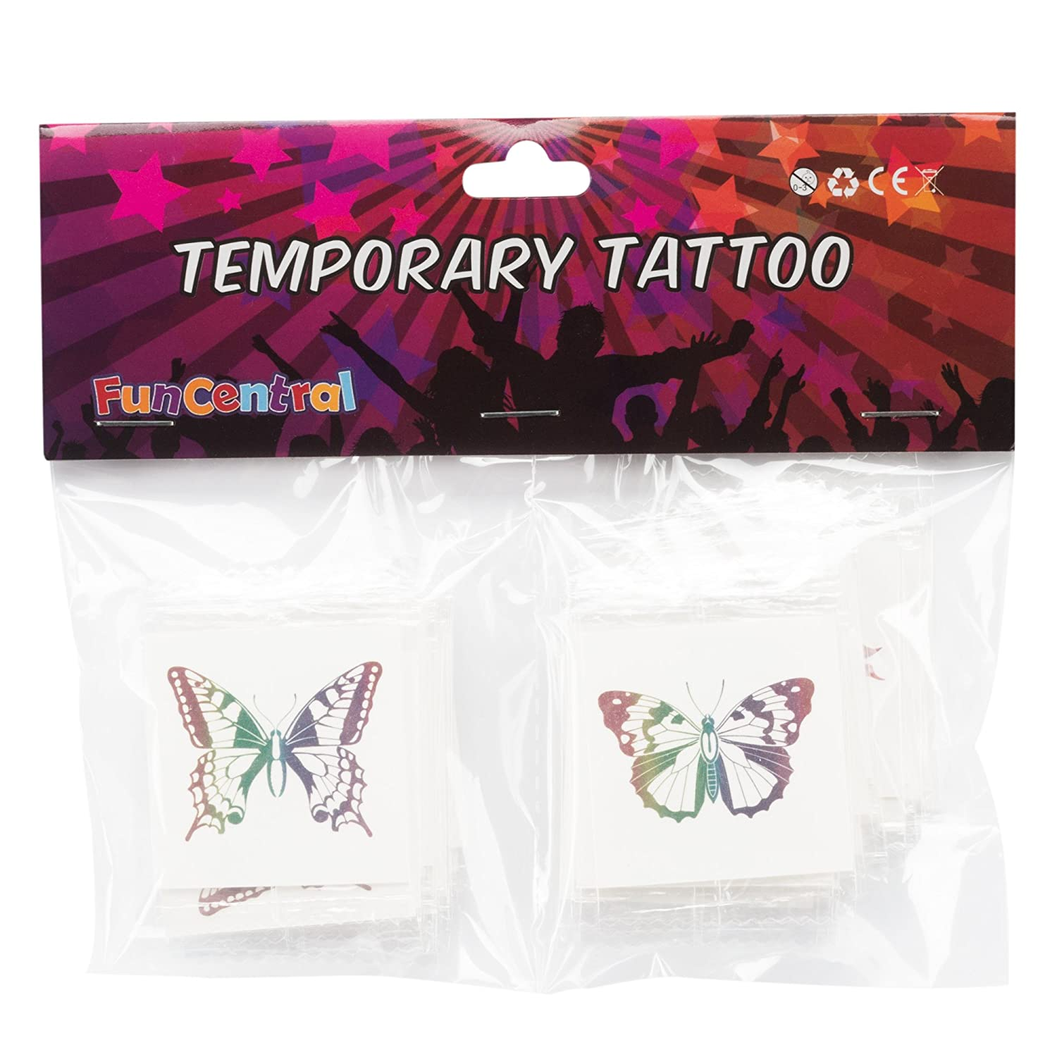 Fun Central AZ961 72ct 2 Pack of Rainbow Glitter Temporary Tattoos for Kids