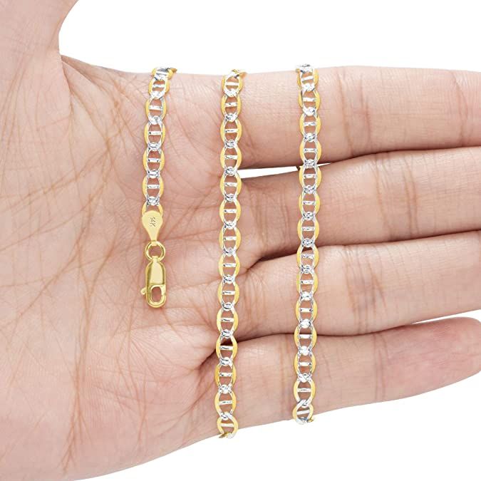 """9/"""" 10K Yellow Gold Solid 4mm Pave Diamond Cut Mariner Anchor Chain Bracelet 7/"""""""