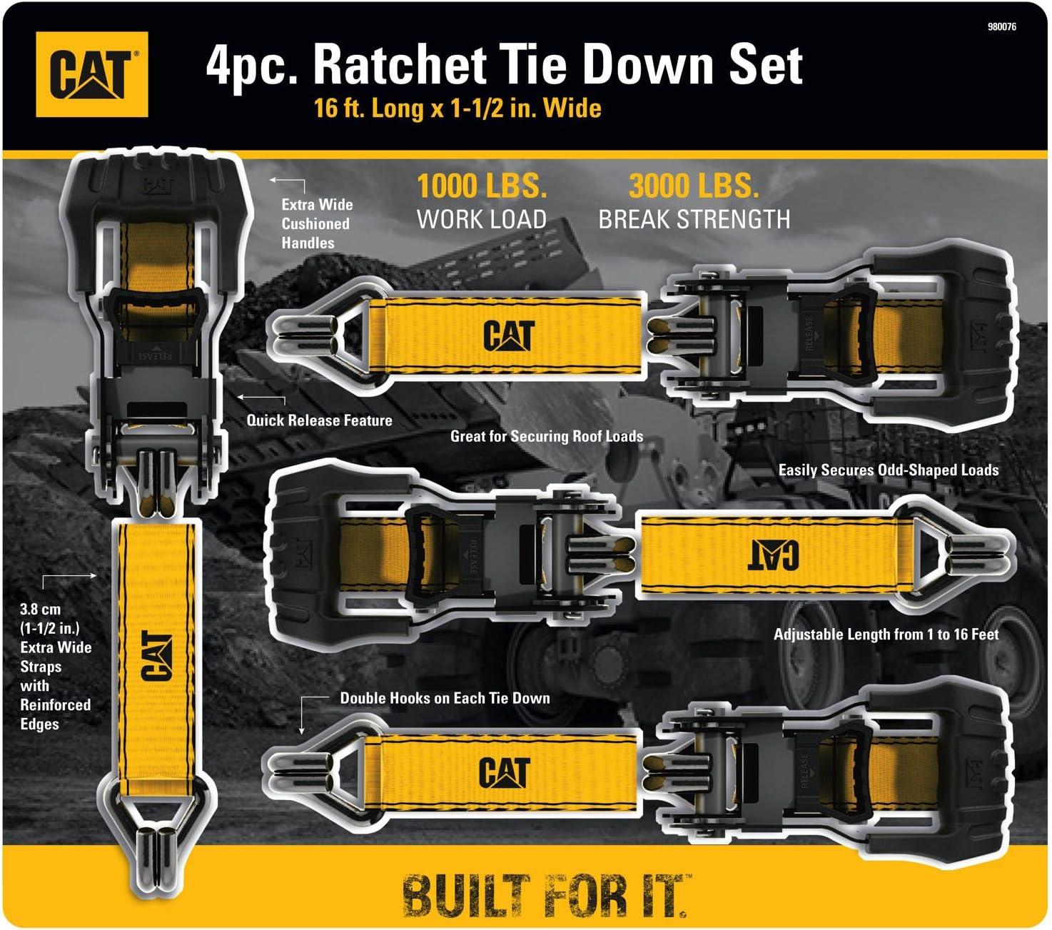 980076E Capacity Cat 4 Pc Tie-Down Ratcheting Straps Heavy-Duty 1,000 lb