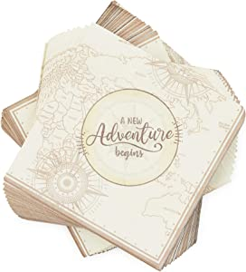 Adventure Paper Napkins for Baby Shower or Graduation Party (6.5 x 6.5 In, 100 Pack)