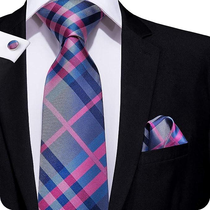 Set Hi-Tie de pañuelo y corbata de seda y de gemelos, con diseño ...