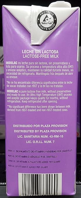 Indulac Milk Lactose Free - Leche sin Lactosa 32 oz: Amazon ...