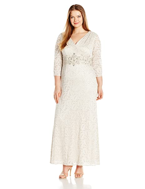 Alex Evenings Plus Size Women\'s V-Neck Lace Evening Gown with Beaded Waist