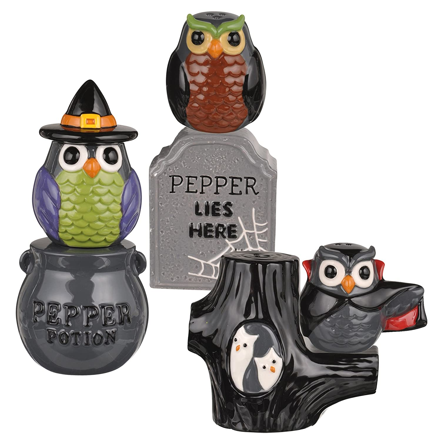 Halloween Salt and Pepper Shaker Witch Owls Witches