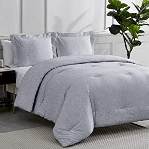 Bedsure Twin Comforter Set, Bed Comforter Twin Set, Navy Comforter Twin Set, Cationic Dyeing Twin Comforter with Pillow Sham(Twin, 68x88 inches, 2 Pieces)