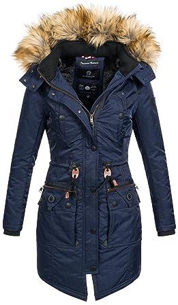 f3883c1c178b44 Marikoo warme Damen Winter Jacke Mantel Parka Winterjacke Teddyfell B404  [B404-Blau-Gr