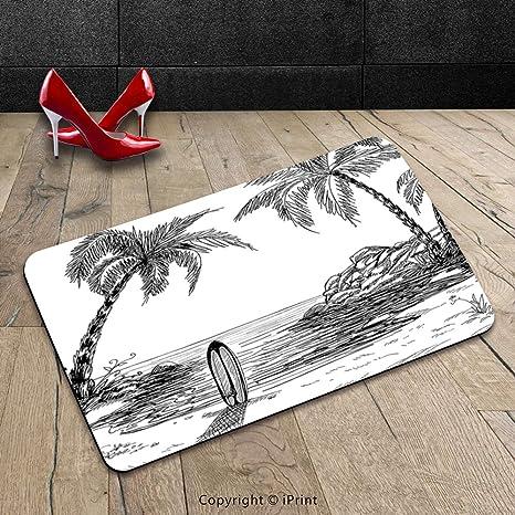 Custom lavable Felpudo Surf Decor Collection con árbol de coco y de paisaje tabla de surf en la arena ...