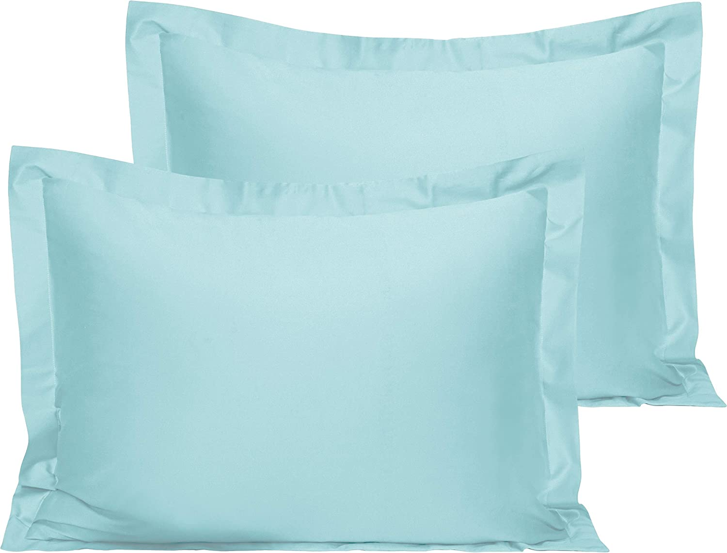 NTBAY 500 Thread Count 2 Pack Cotton Pillow Shams, Super Soft and Breathable Standard Pillow Cases, 20 x 26 Inches, Aqua