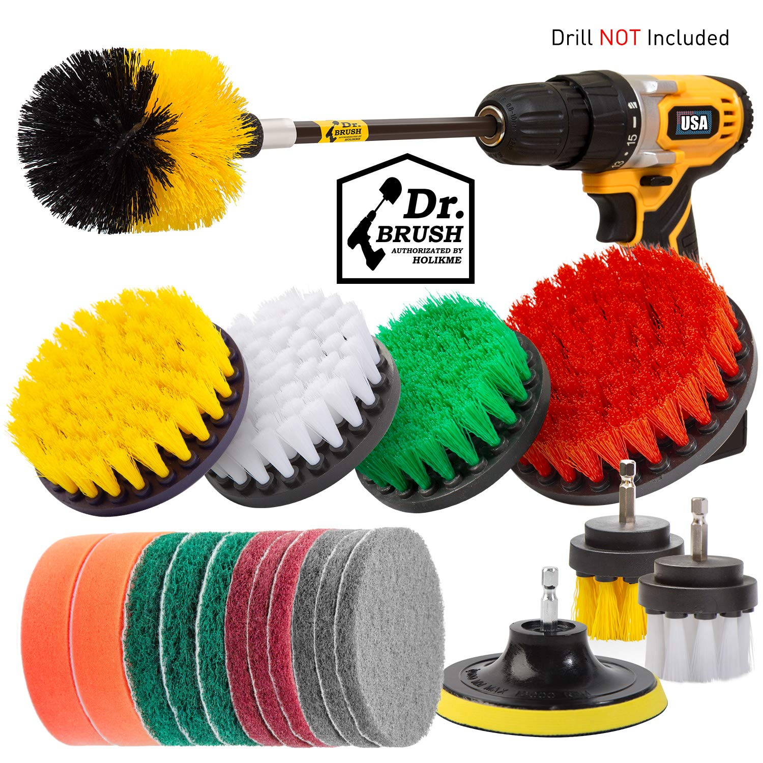 Holikme 20Piece Drill Brush Attachments Set,Scrub Pads & Sponge, Power Scrubber Brush with Extend Long Attachment All purpose Clean for Grout, Tiles, Sinks, Bathtub, Bathroom, Kitchen by Holikme