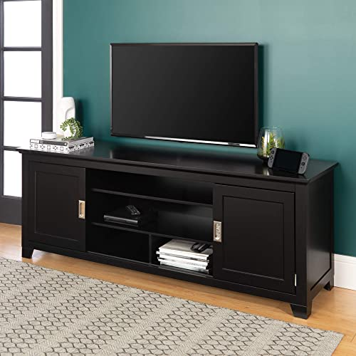 WE Furniture Traditional Wood Stand with Storage Cabinets for TV s up to 78 Living Room, 70 Inch, Black