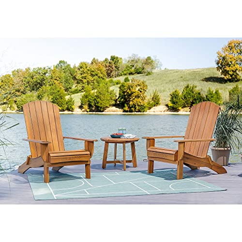 Life is Good 2 Chairs and Side Table Adirondack Natural 3pc 2 Chairs and Side Table Patio Seating Set, 2 Chairs and Side Table