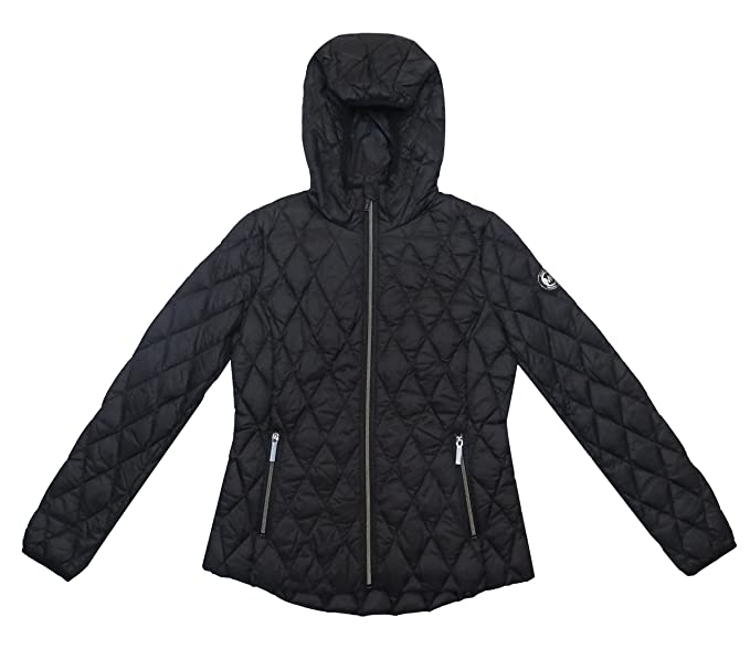 33ae75a9e0d16 Amazon.com: Michael Kors Black Diamond Quilted Hooded Packable (XS ...