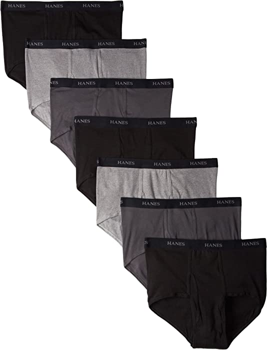 4fb0bccd6d5d Hanes Ultimate Men's 7-Pack Full-Cut Briefs - Colors May Vary, Black/Grey,  Small at Amazon Men's Clothing store: Briefs Underwear