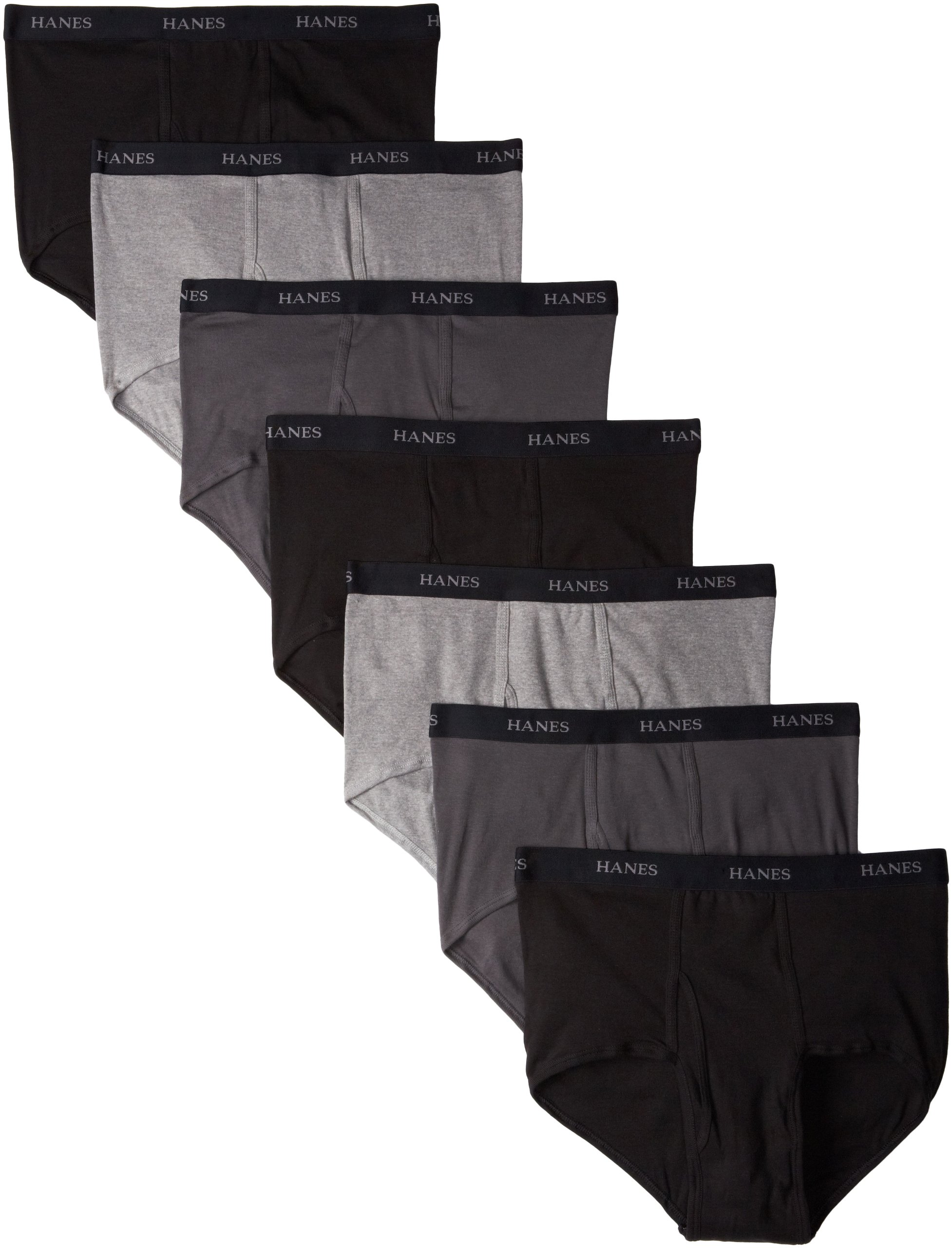 Hanes Ultimate Men's 7-Pack Full-Cut Briefs - Colors May Vary, Black/Grey, Large