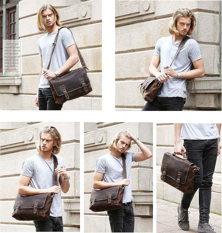 Mens Leather Briefcases Laptop Messenger Bag Brown Tote Shoulder Bags