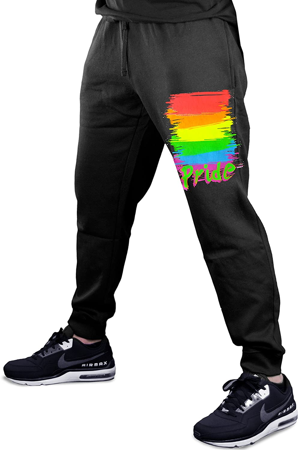 66920b5fb3 Top5: Interstate Apparel Inc Gay Pride Rainbow Men's Jogger Training Black  Pants Running Fitted