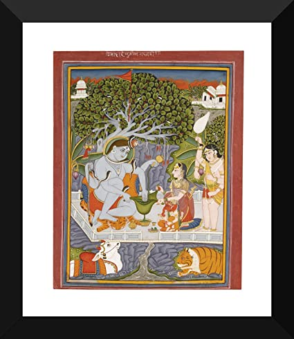 Tallenge - Shiva-Parvati and Their Family - Indian Miniature Pahari