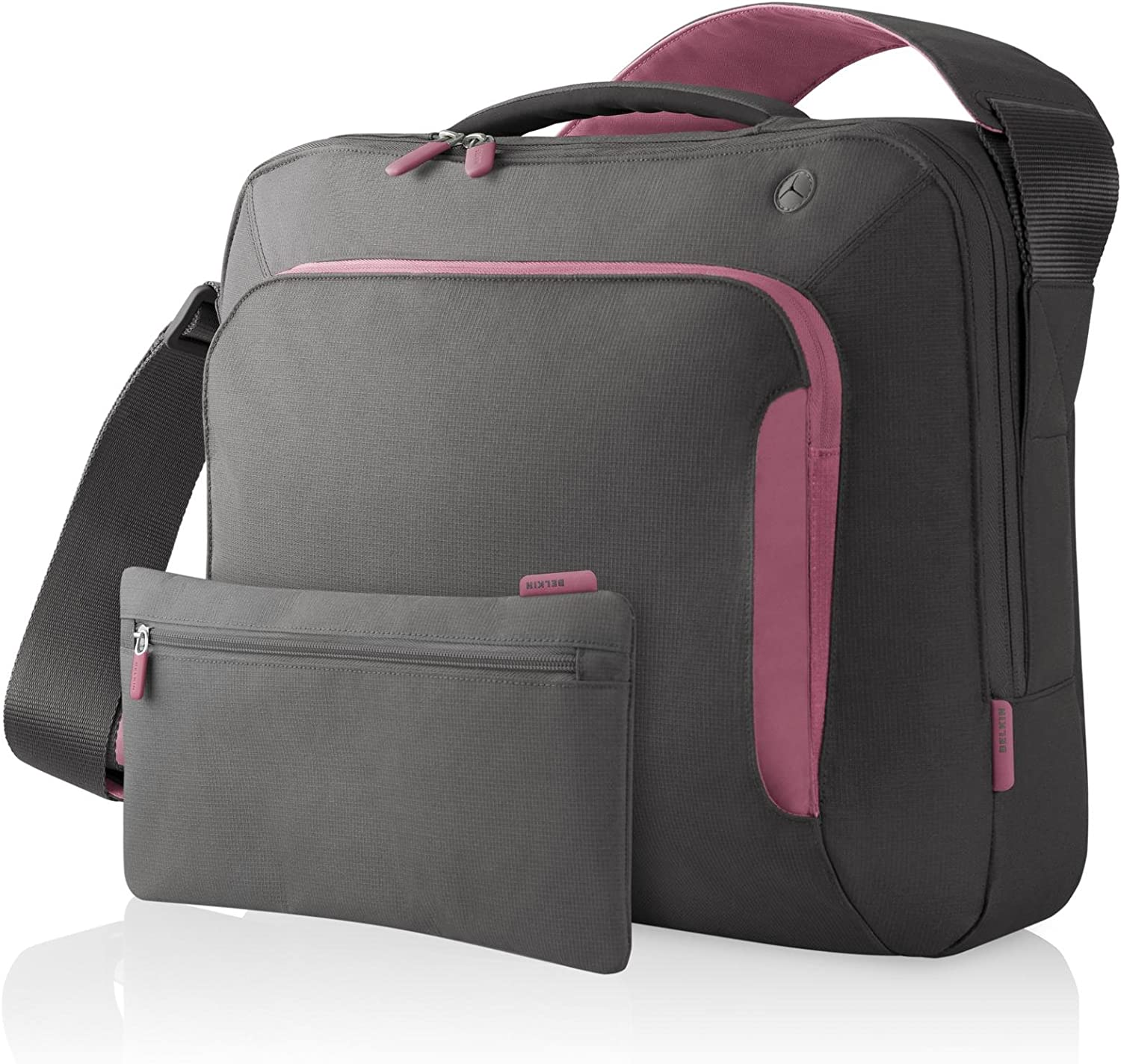 Belkin Neoprene Messenger Bag for Notebooks up to 15.4-Inch Soft Grey/Flamingo Pink