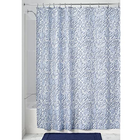 InterDesign Filigree Fabric Shower Curtain, Polyester Shower Screen With  Filigree Pattern Design, Slate Blue