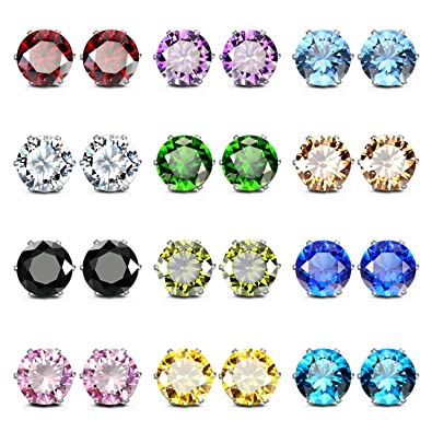 41152ca4f JewelrieShop Cubic Zirconia Earrings Birthstone Stud Earrings  Hypoallergenic Earrings Assorted Colors Set Unisex (03.12pairs/set - size  8mm): Amazon.co.uk: ...