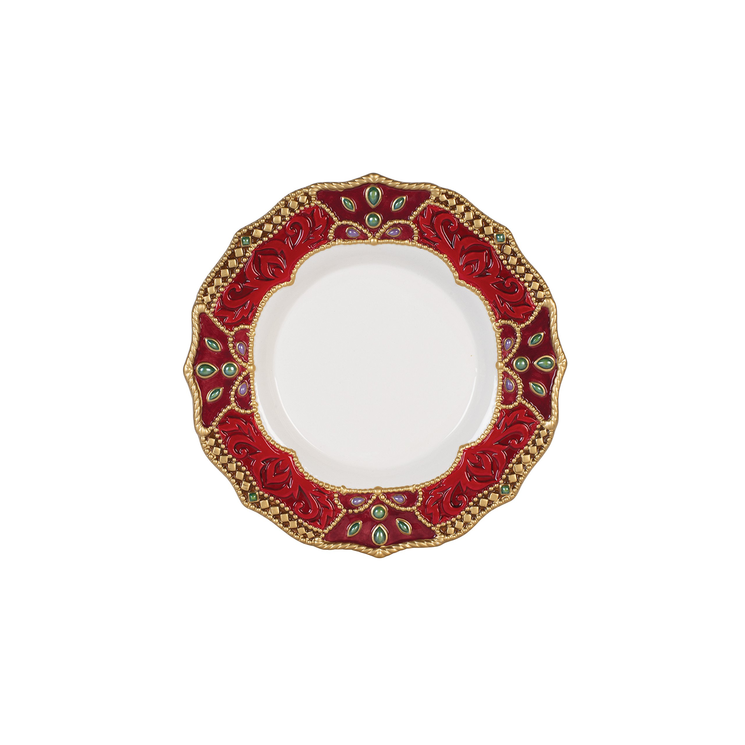 Fitz and Floyd 49-674 Renaissance Holiday Salad Plate, Red White