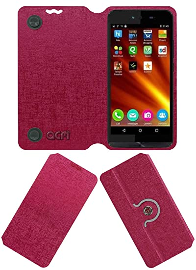 Acm Designer Rotating Flip Flap Case Compatible with Micromax Bolt Q346 Mobile Cover Pink