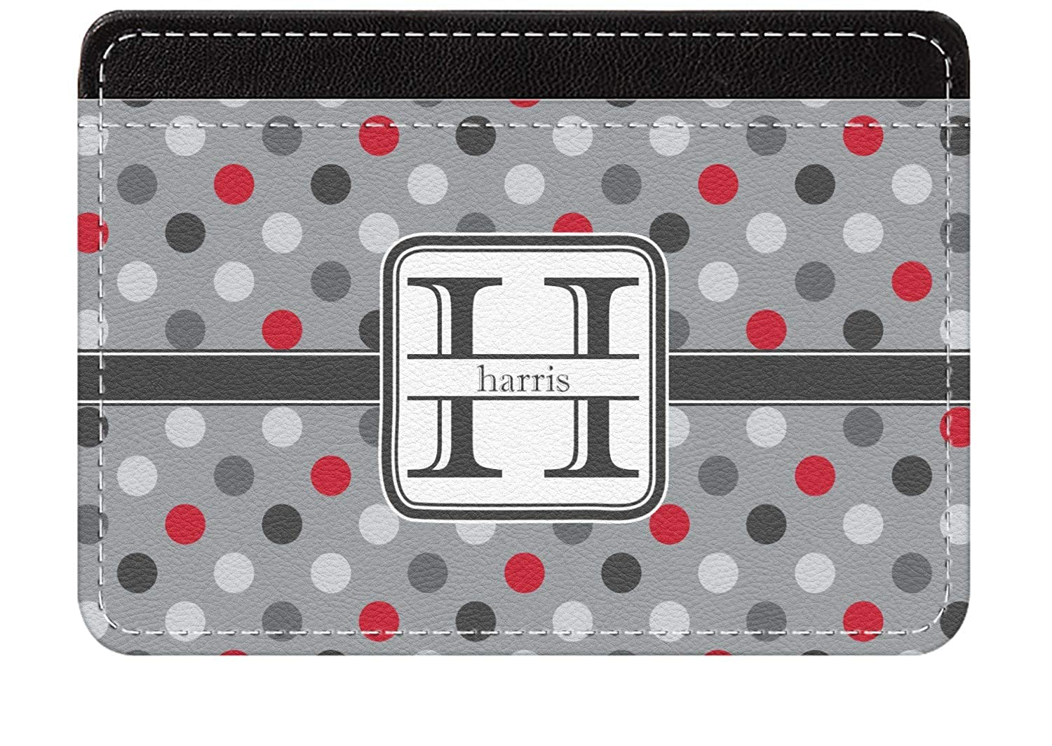 Personalized Red /& Gray Polka Dots Genuine Leather Front Pocket Wallet