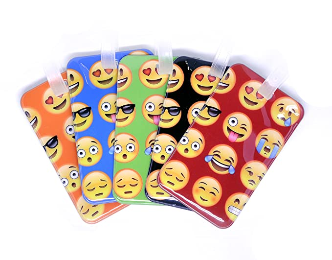 Neon Emoji Luggage Tags Set for Kids Travel Luggage ID