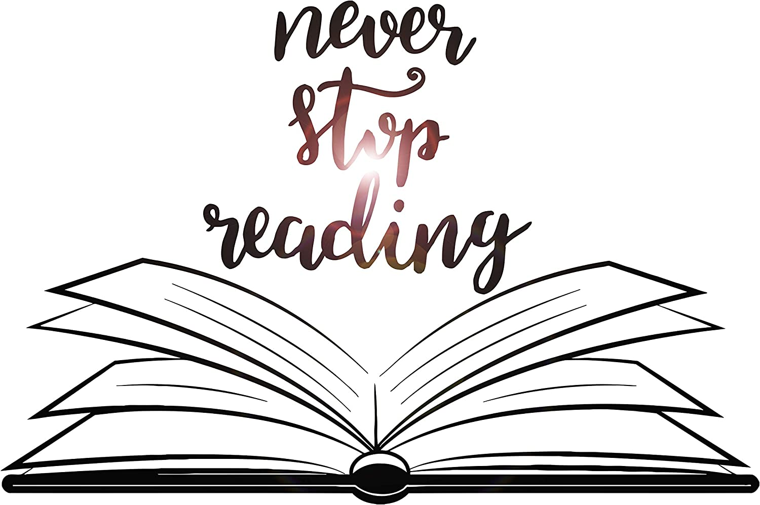Large Vinyl Wall Decal Open Book Quote Reading Room Library Decor Stickers Mural (ig5184) Black