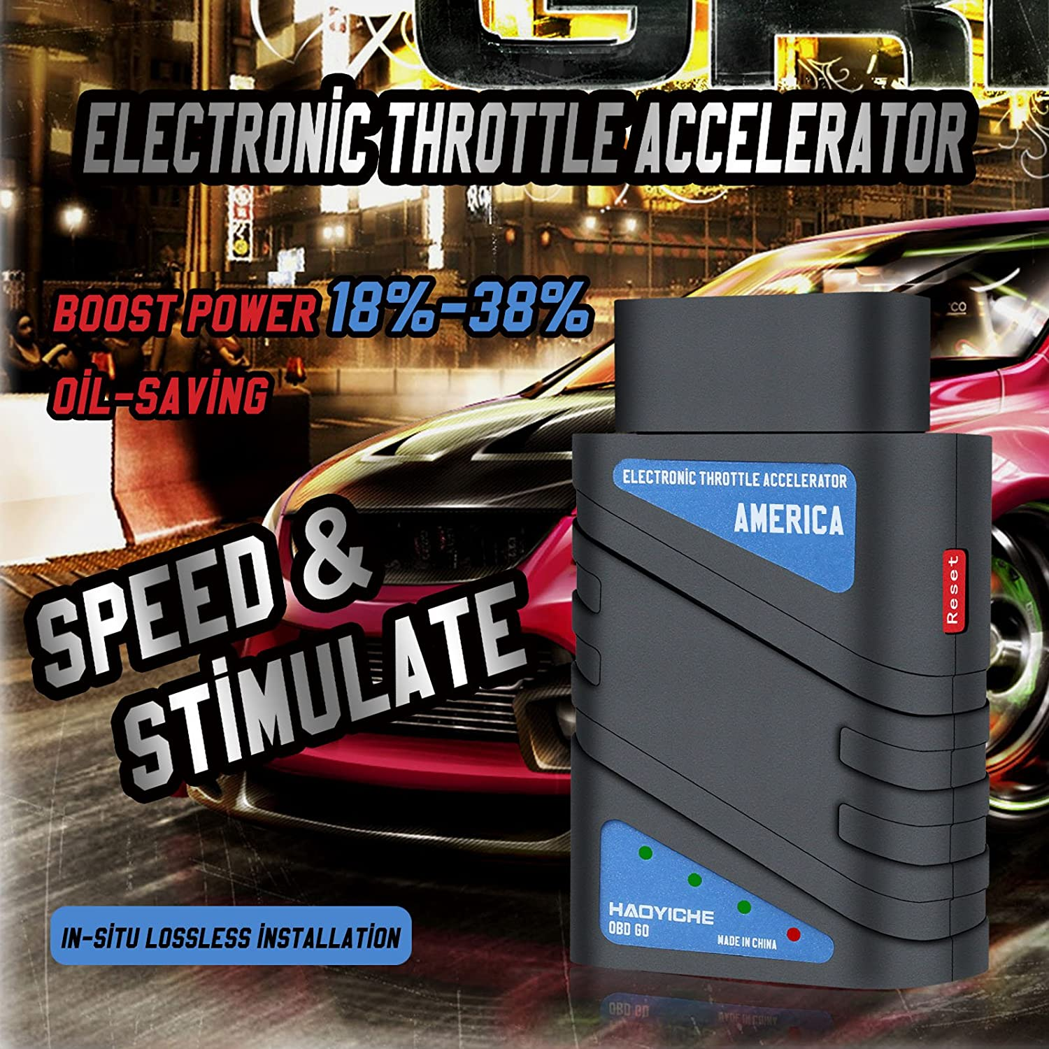 Booster Power Up to 18/% to 38/% HAOYICHE 16Pin OBD2 OBDII Electronic Throttle Accelerator Adapter Automative Engine Power Enhancer Fuel Efficient /& Increased Performance Only Fit for Petrol Vehicles