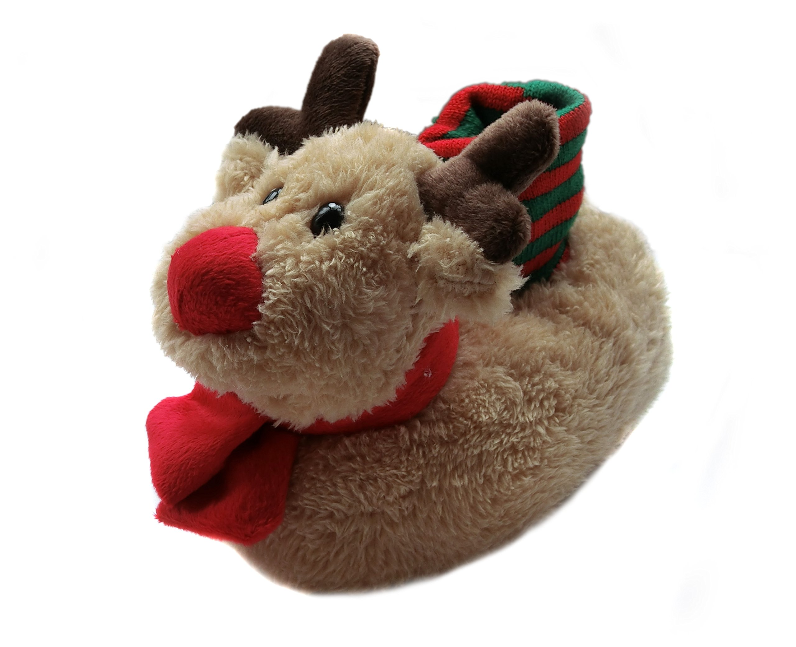 Fuzzy Animal Moose Slippers for Toddler and Little Kids(6-8 M)