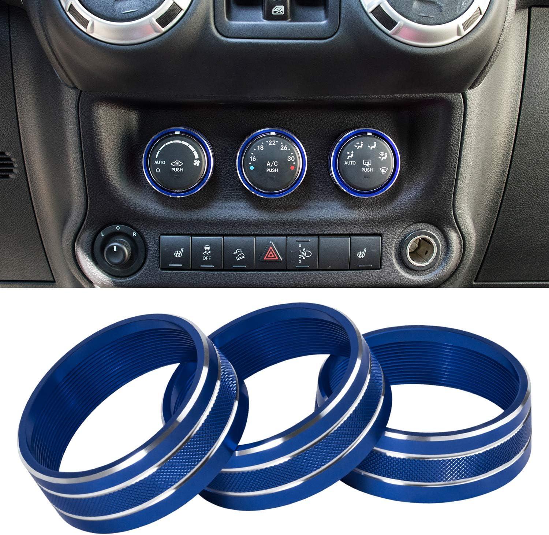 Sunluway 21 PCS Full Set Interior Trim Kit-Door Handle /& Cup Cover Blue Steering Wheel /& Center Console Trim Air Outlet /& AC Ring Cover Fit for Jeep Wrangler JK JKU 2011-2018 2-Door/&4-Door