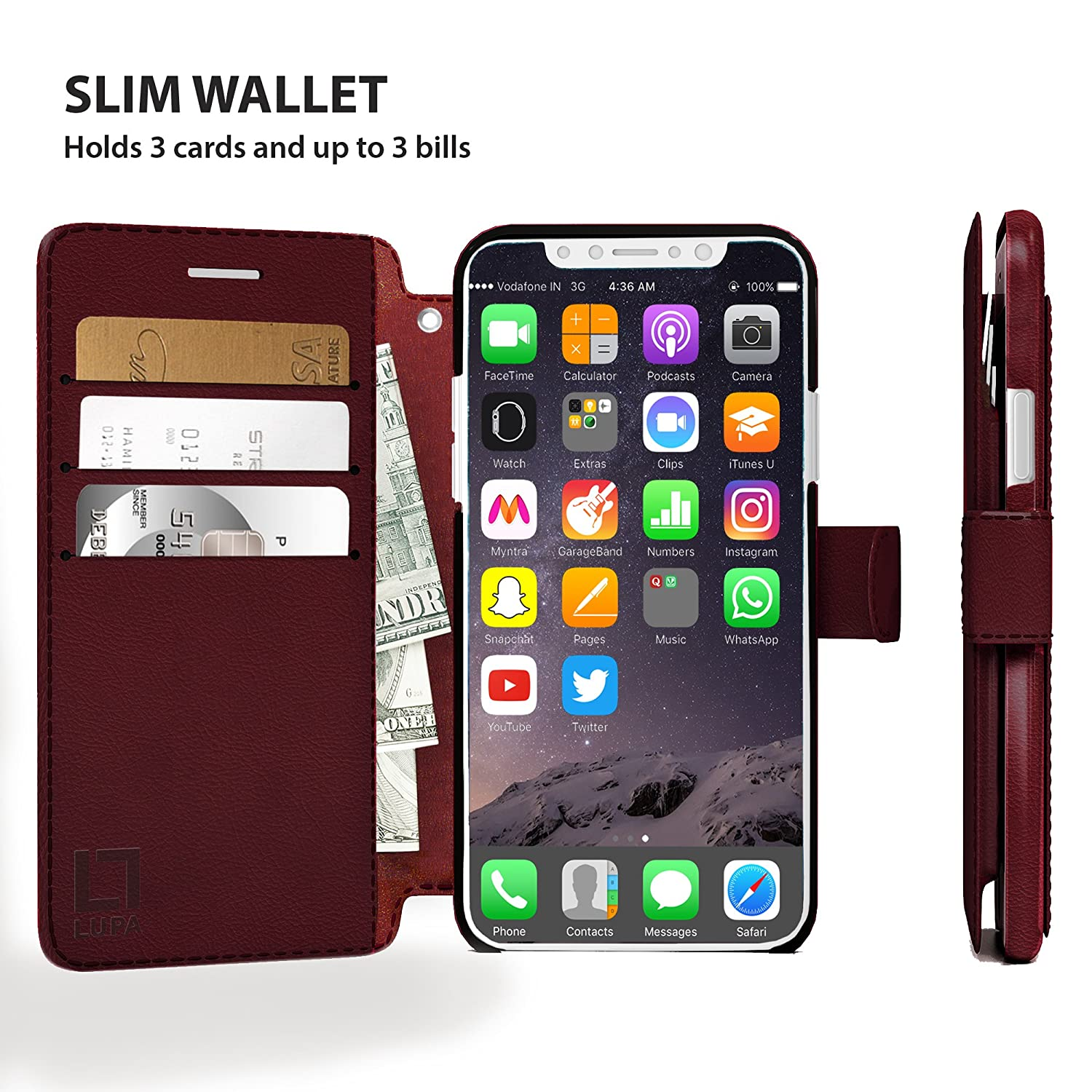 Durable and Slim Smoky Cedar Faux Leather for Apple iPhone Xs//X iPhone X Wallet Case LUPA iPhone Xs Wallet case Lightweight with Classic Design /& Ultra-Strong Magnetic Closure
