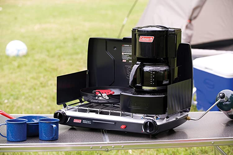 Camping coffee maker quickly brews up to 10 cups of coffee on a camp stove