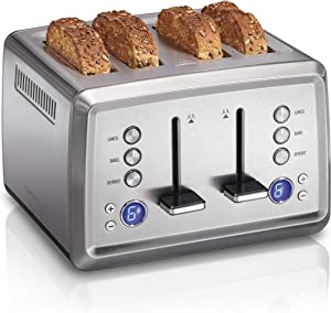 Hamilton Beach Digital 4 Slice Extra-Wide Slot Stainless Steel Toaster with Bagel & Defrost Settings, Toast Boost, Slide-Out Crumb Tray, Auto-Shutoff and Cancel Button (24796) (Renewed)