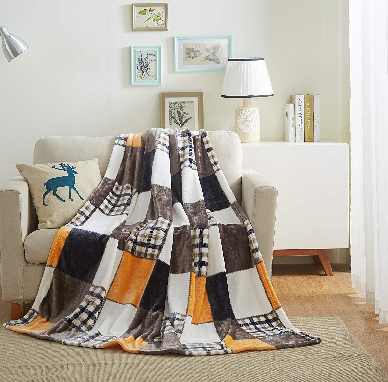 Tache Orange Fall Farmhouse Super Soft Warm Lightweight Plaid Fleece Patchwork Decorative Throw Blanket for Couch, Sofa, Lap - 50x60
