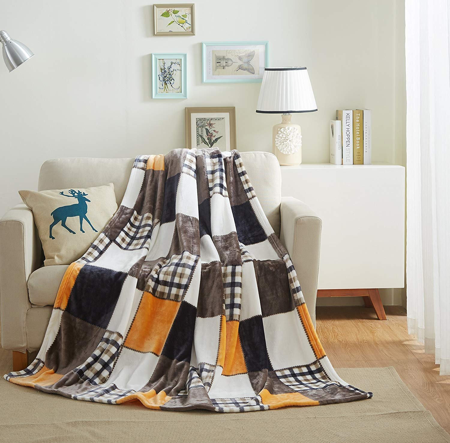 Tache 50x60 Fall Farmhouse Super Soft Warm Lightweight Plaid Fleece Patchwork Decorative Throw Blanket for Couch, Sofa, Lap - Colorful Orange, Yellow, Brown, White