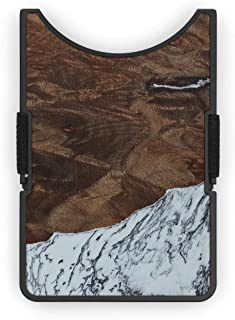 product image for Carved Wood+Resin Minimalist Alloy Wallet - One-Of-A-Kind - RFID Blocking - Card Carry Wallet with Cash Strap