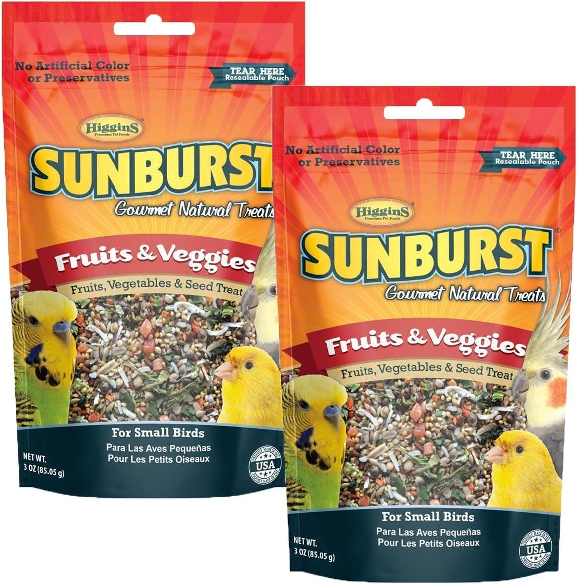 Higgins Sunburst Fruits & Veggies Gourmet Treats for Small Birds (2 Pack)