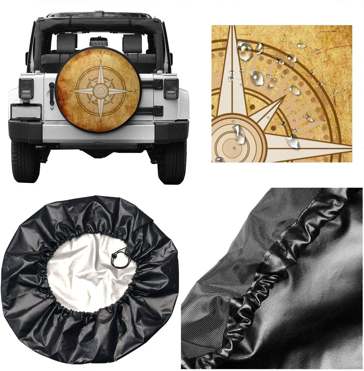Truck and Many Vehicle 14 15 16 17inch Rv Camper Travel Trailer SUV N,A Spare Tire Cover Waterproof Dust-Proof Universal Wheel Tire Cover Fit for Jeep