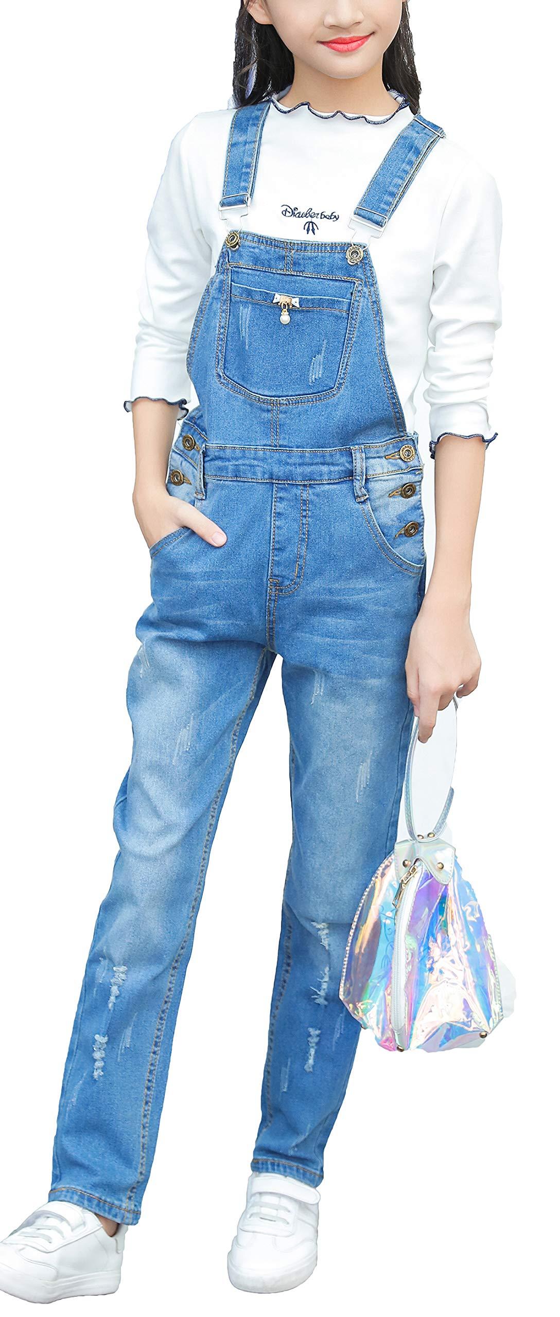 Luodemiss Big Girl's Light Blue Denim Jumpsuit Boyfriend Jeans Denim Romper Shortalls 6/Light Blue